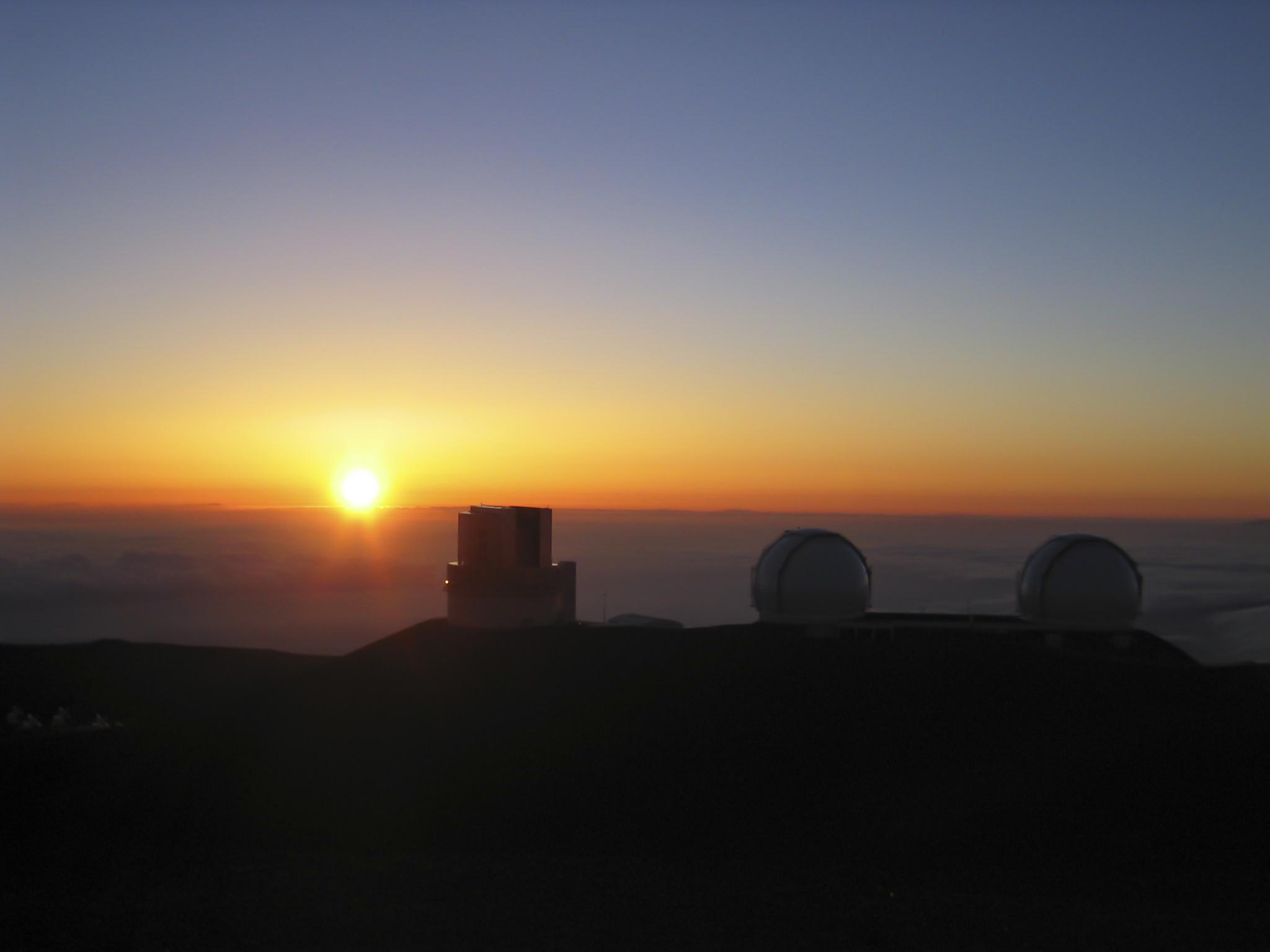 Keck Telescopes Sunset on Mauna Kea, Hawaii